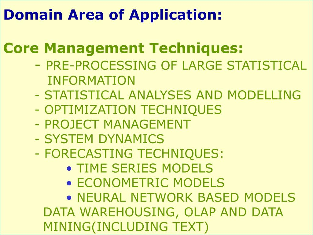 Domain Area of Application: