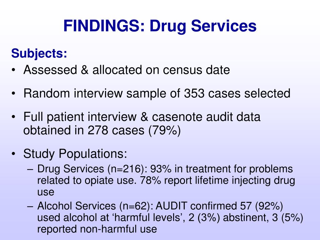 FINDINGS: Drug Services