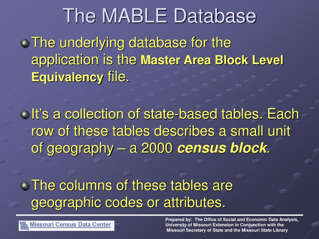 The MABLE Database