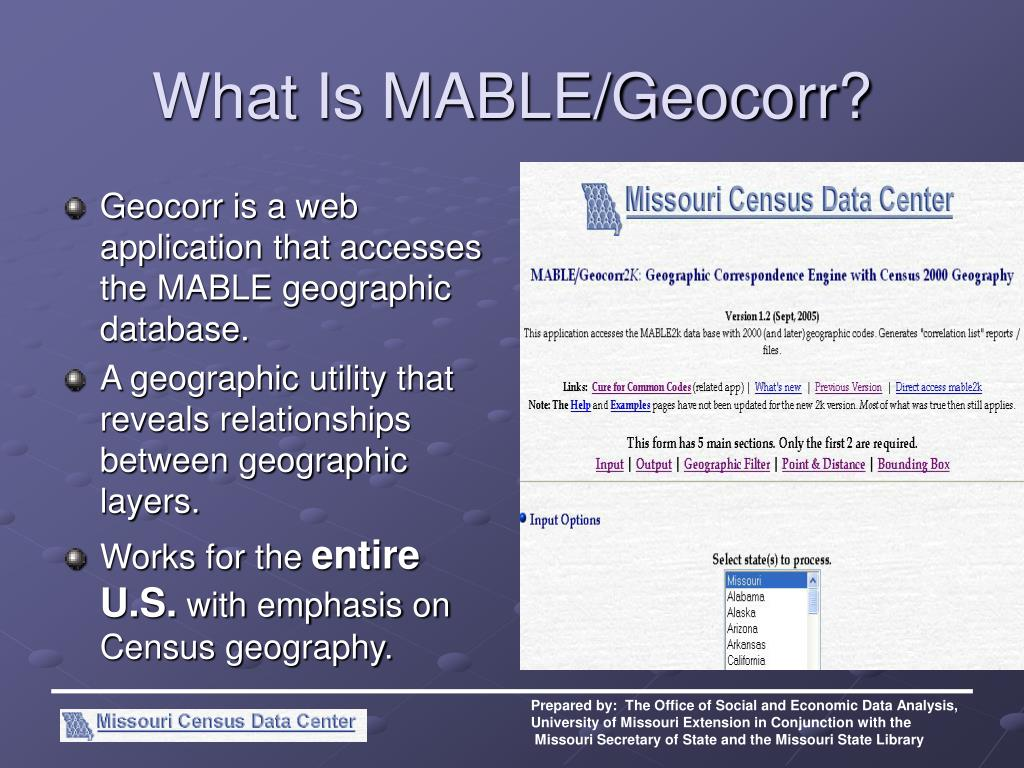 What Is MABLE/Geocorr?