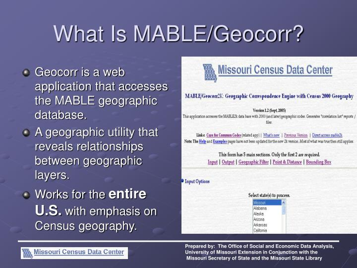 What is mable geocorr