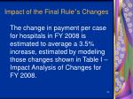 impact of the final rule s changes