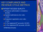 key compliance and revenue cycle metrics