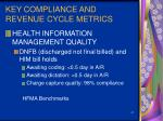 key compliance and revenue cycle metrics41