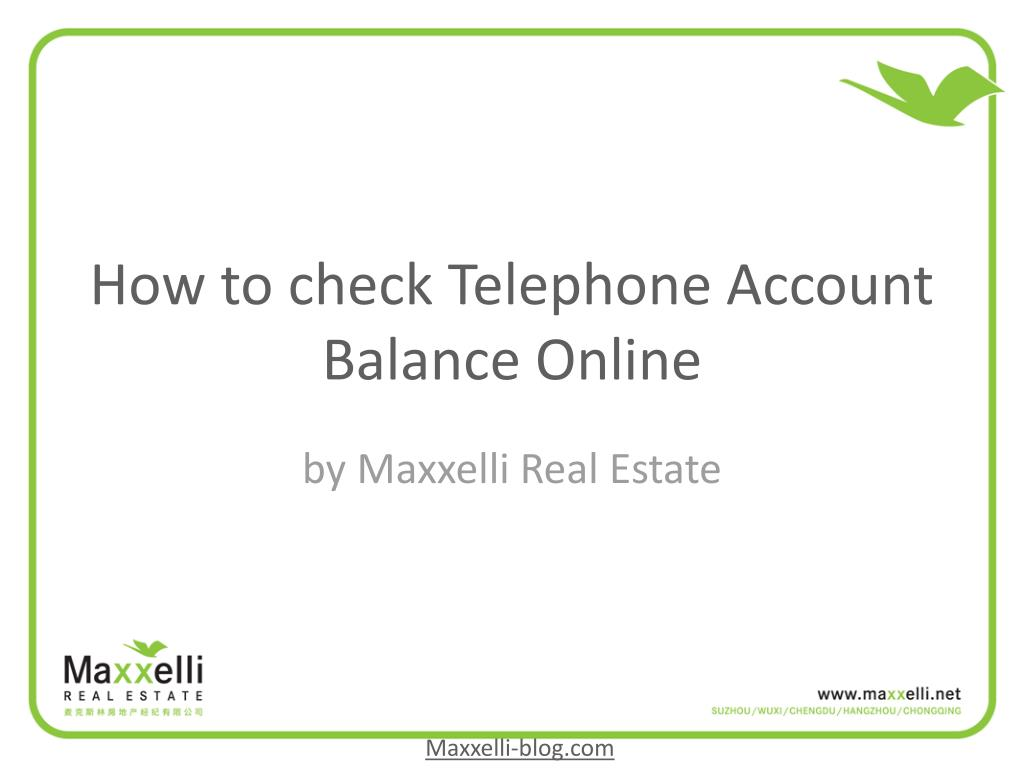 how to check telephone account balance online l.