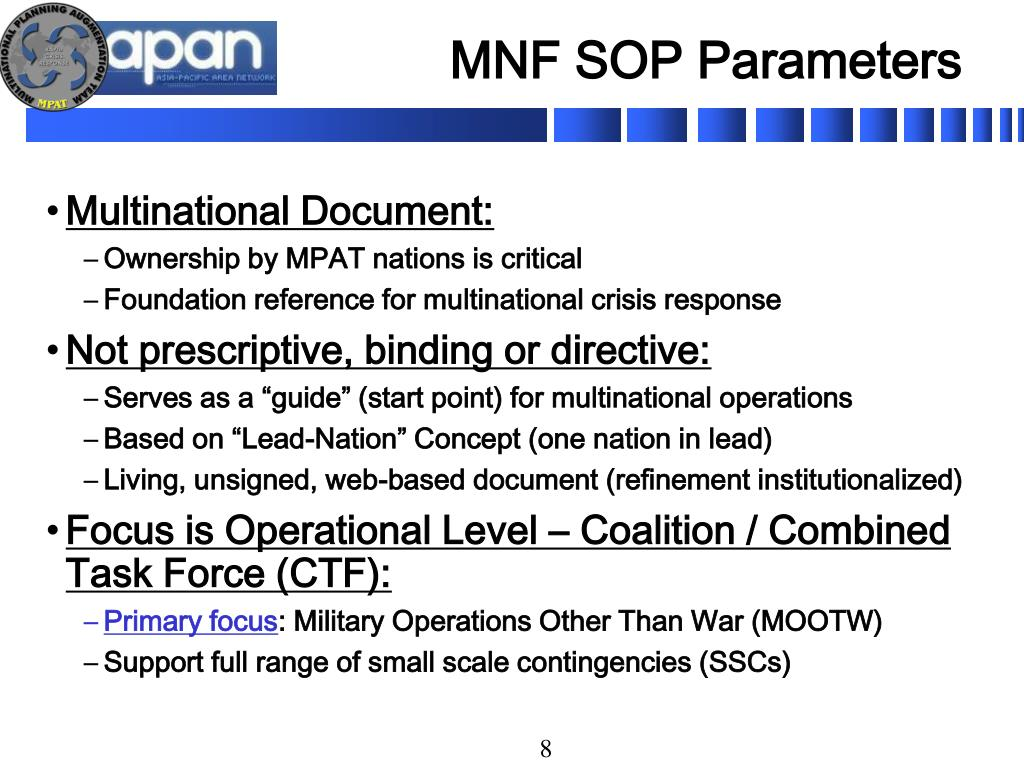 MNF SOP Parameters
