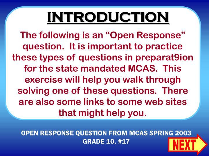 Open response question from mcas spring 2003 grade 10 17