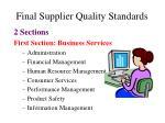 final supplier quality standards