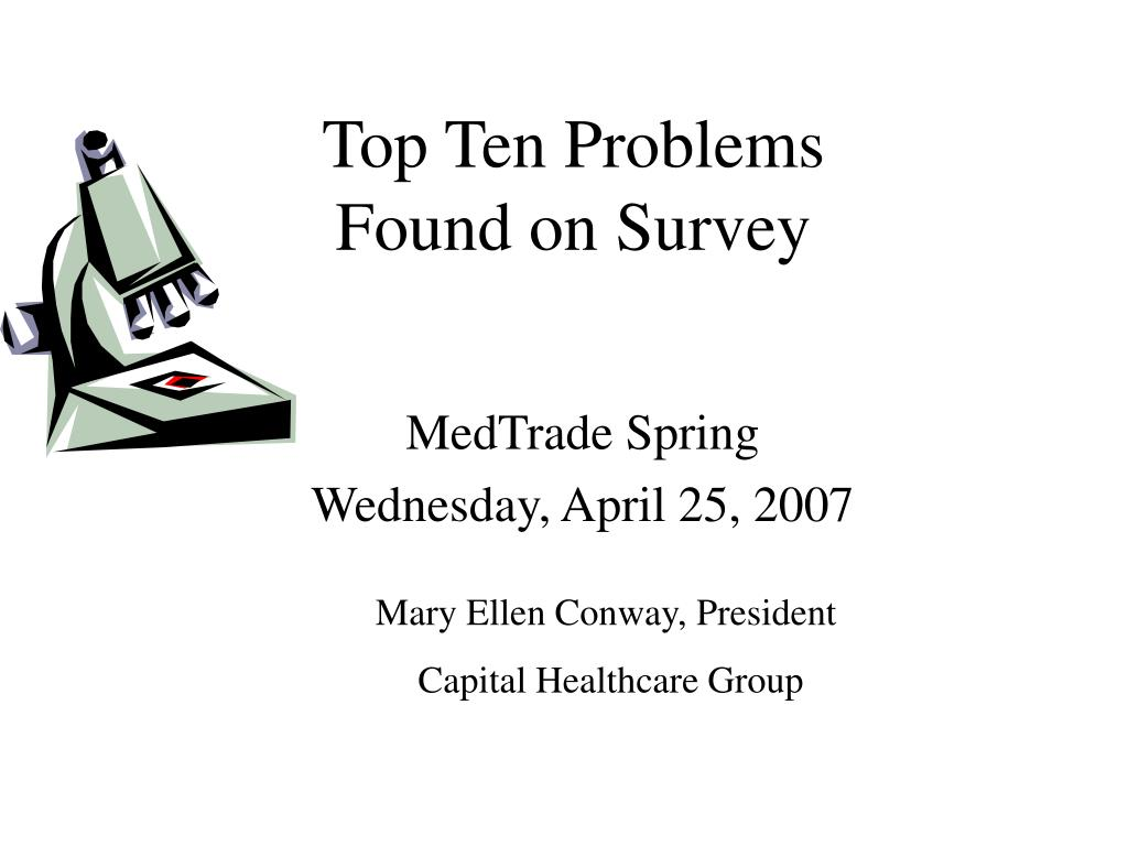 top ten problems found on survey l.
