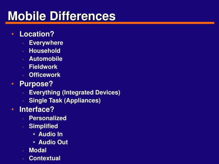 Mobile differences