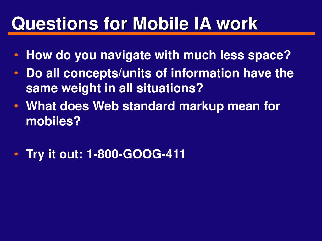 Questions for Mobile IA work