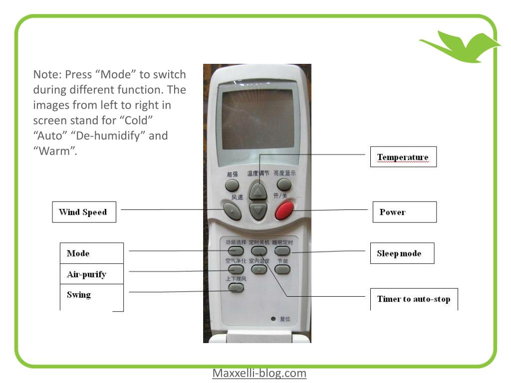 """Note: Press """"Mode"""" to switch during different function. The images from left to right in screen stand for """"Cold"""" """"Auto"""" """"De-humidify"""" and """"Warm""""."""