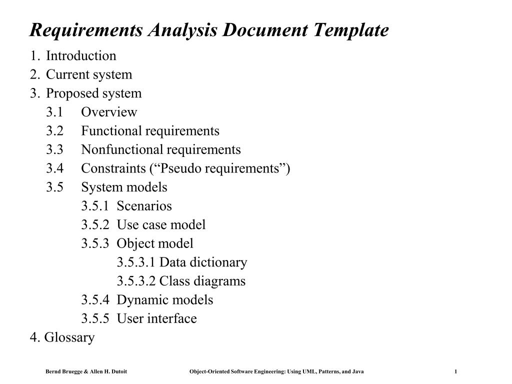 PPT Requirements Analysis Document Template PowerPoint - Software analysis document template