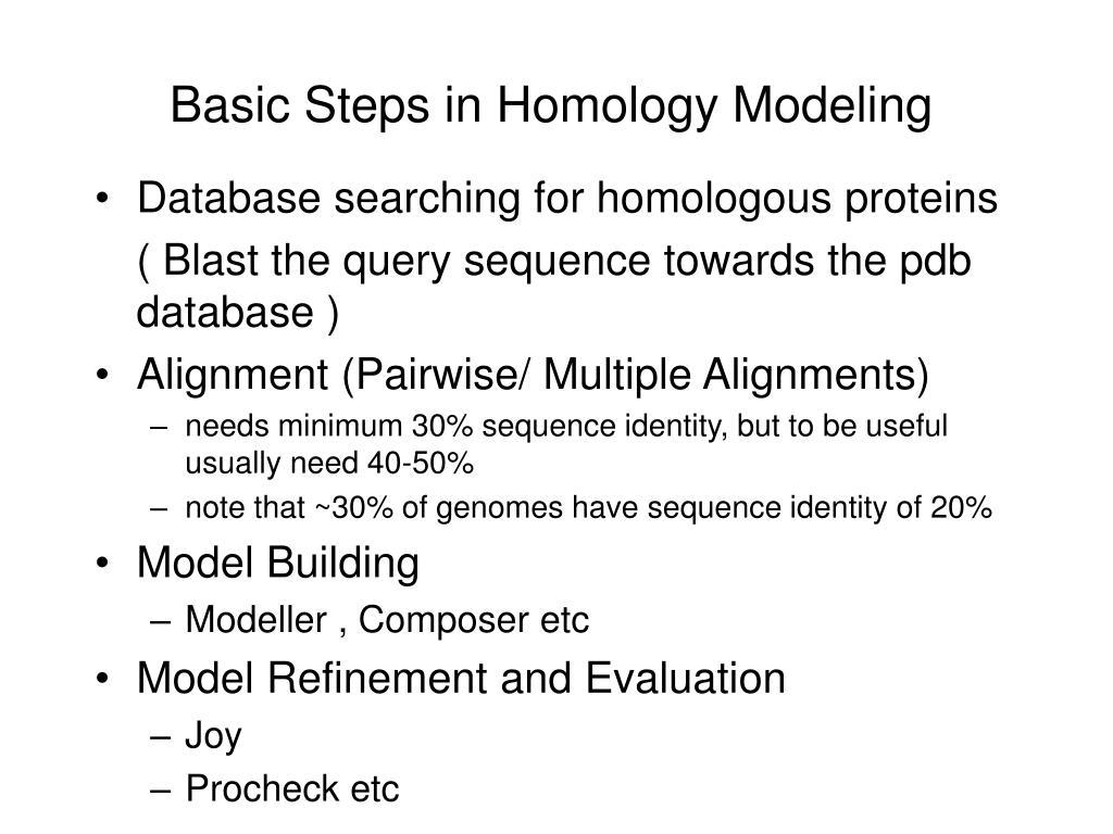 Basic Steps in Homology Modeling