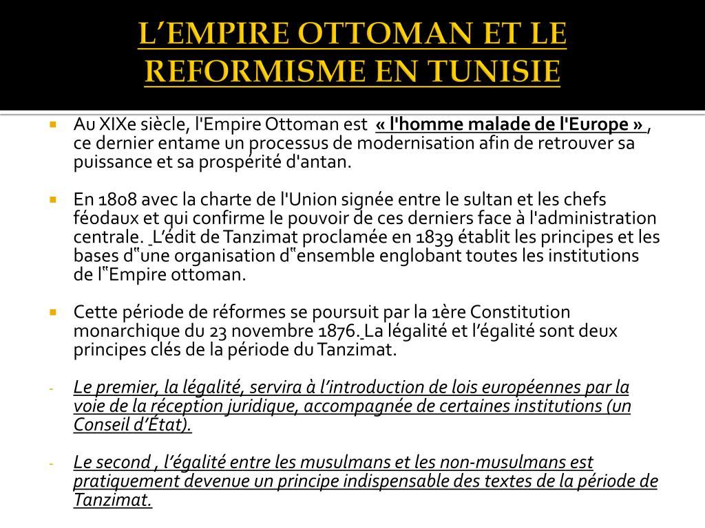 L'EMPIRE OTTOMAN ET LE REFORMISME EN TUNISIE
