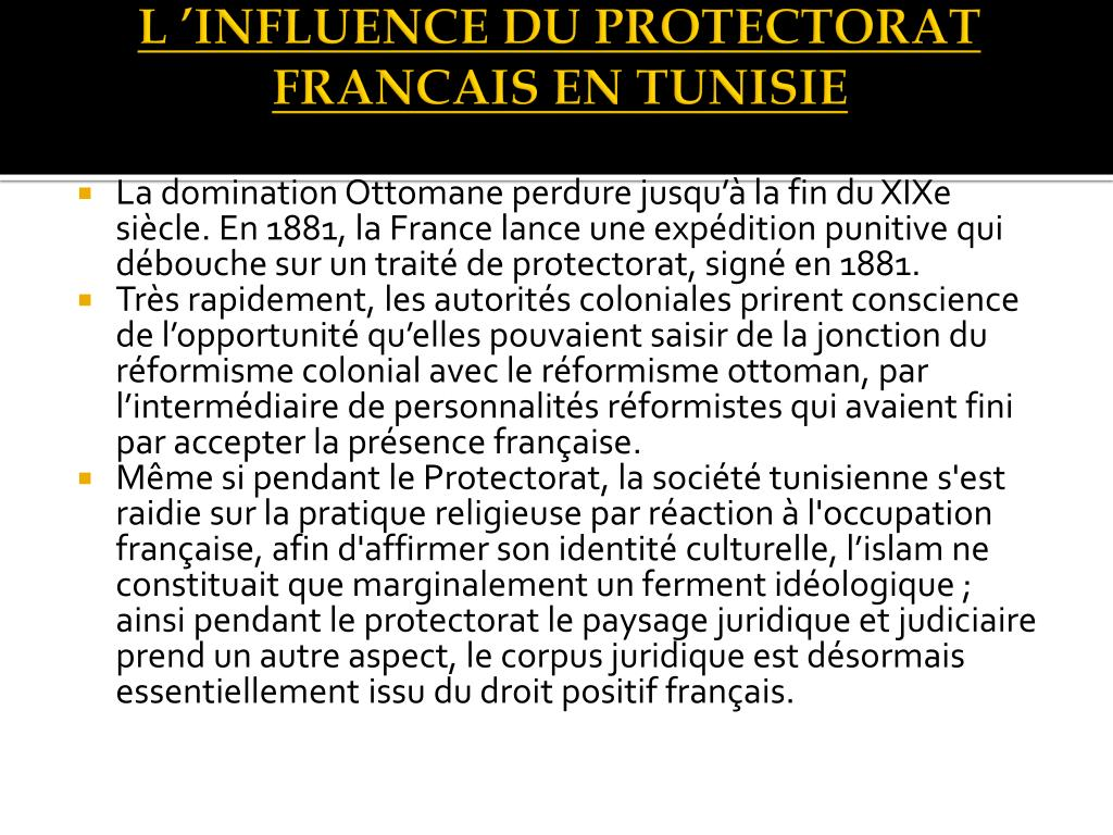 L'INFLUENCE DU PROTECTORAT FRANCAIS EN
