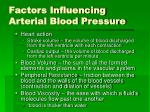 factors influencing arterial blood pressure