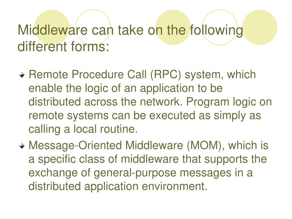Middleware can take on the following different forms: