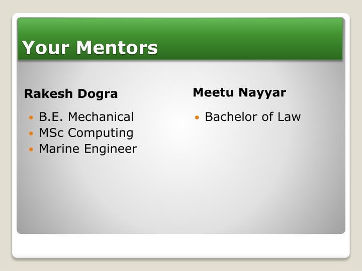 Your mentors