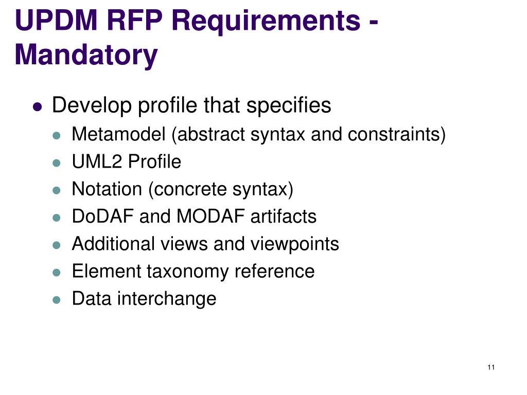 UPDM RFP Requirements - Mandatory