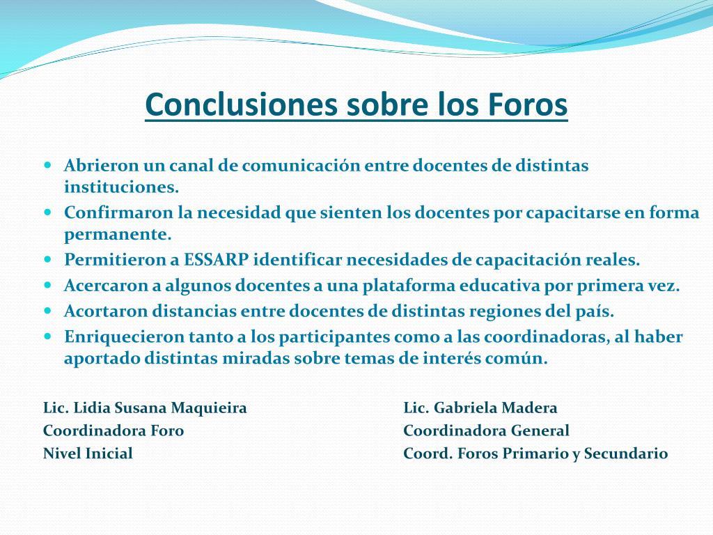 Conclusiones sobre los Foros