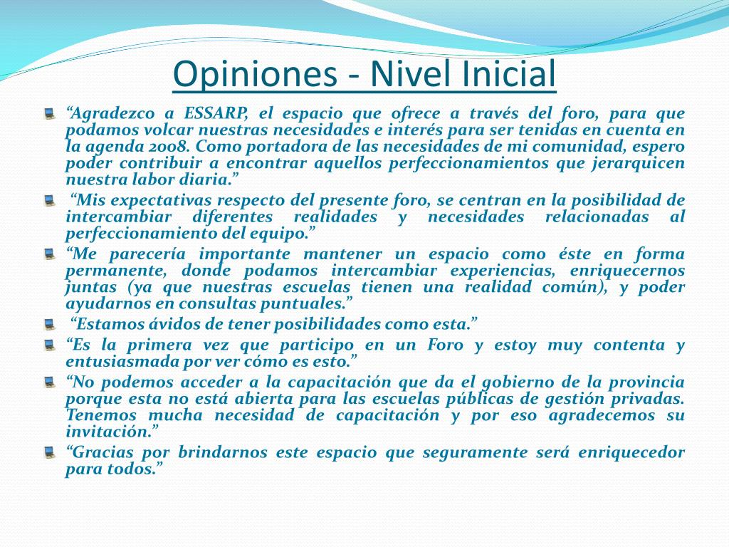 Opiniones - Nivel Inicial