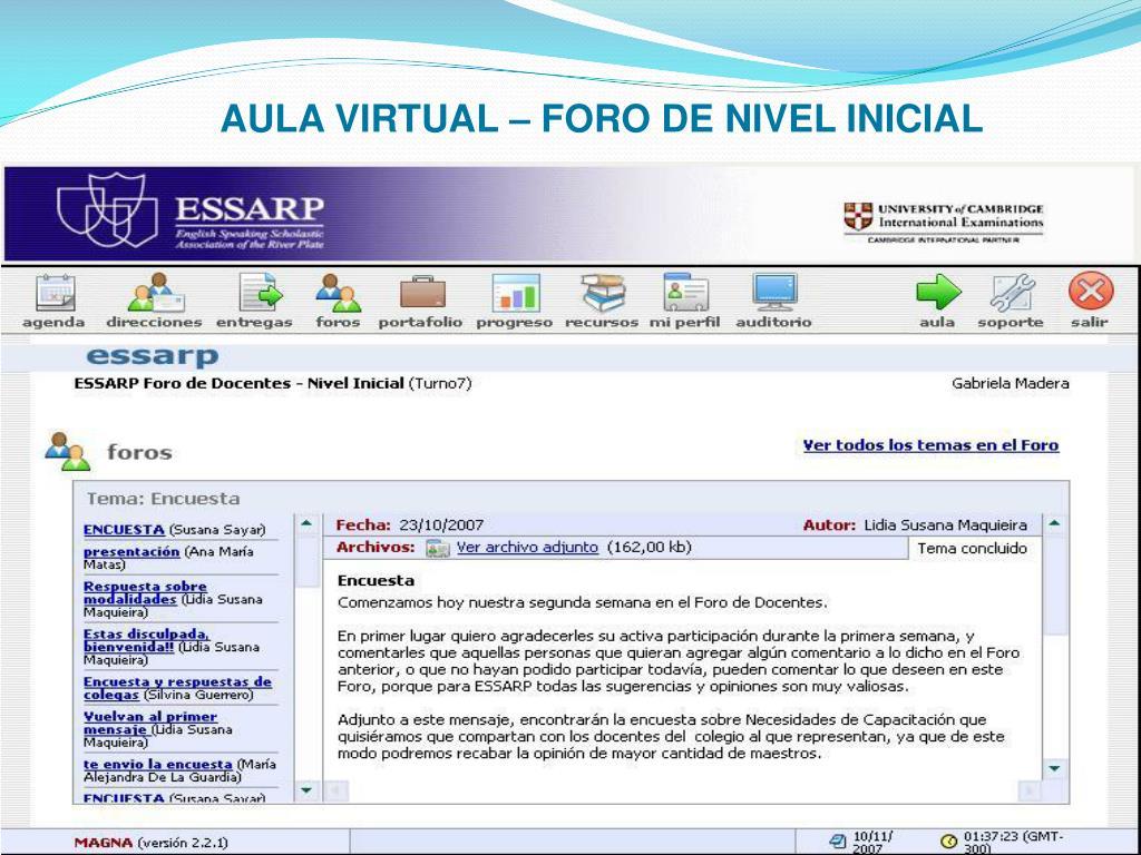 AULA VIRTUAL – FORO DE NIVEL INICIAL