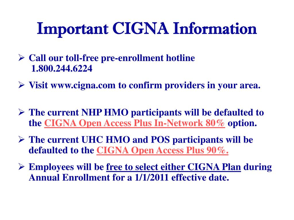 important cigna information l.