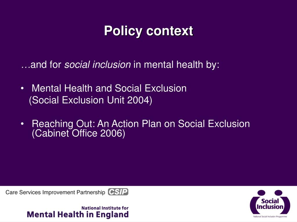 PPT - Mental Health, Social Inclusion & Co-production ...
