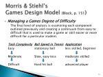 morris stiehl s games design model block p 151