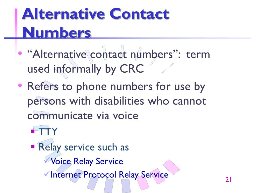 Alternative Contact Numbers