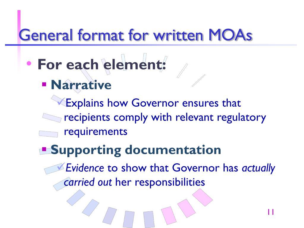 General format for written MOAs