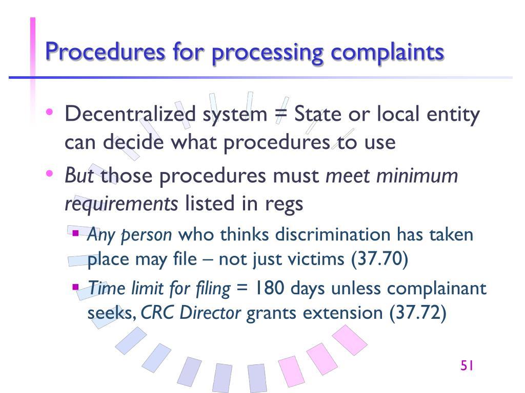 Procedures for processing complaints