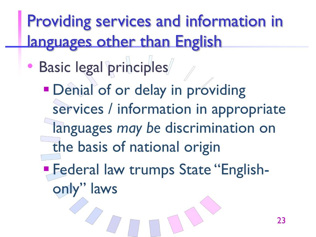 Providing services and information in languages other than English