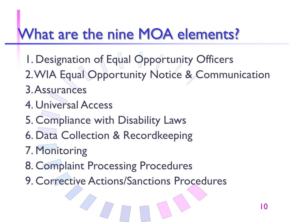 What are the nine MOA elements?