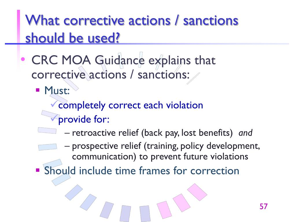 What corrective actions / sanctions