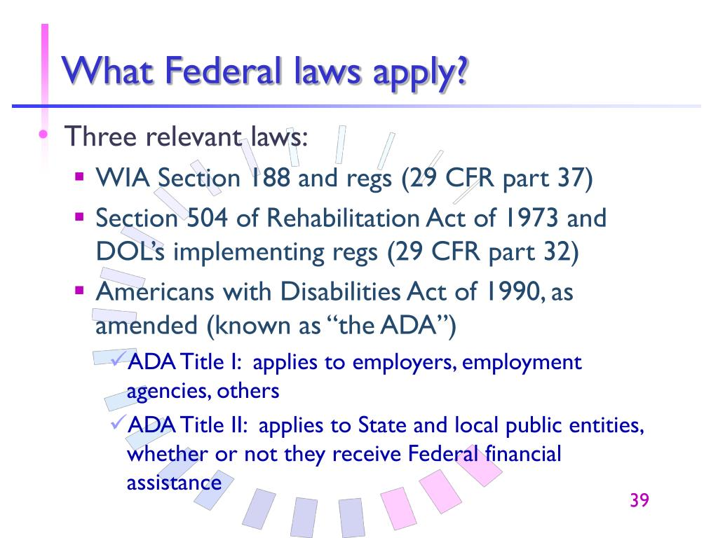 What Federal laws apply?