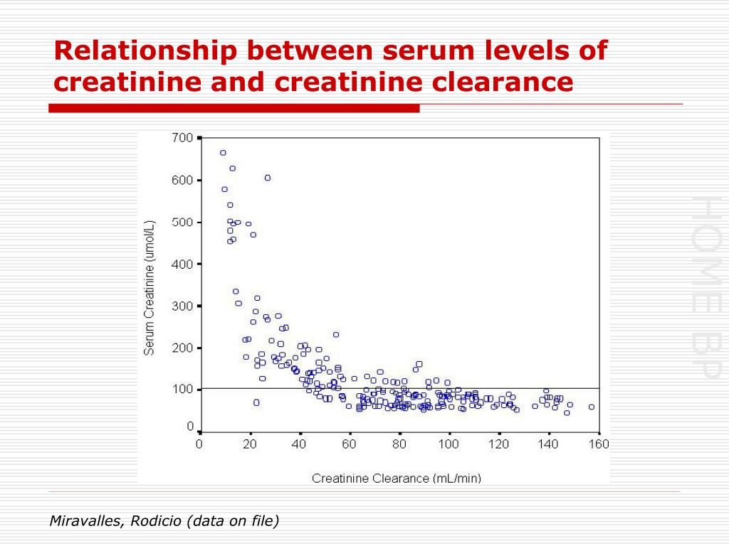 Relationship between serum levels of creatinine and creatinine clearance