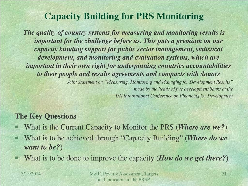 Capacity Building for PRS Monitoring