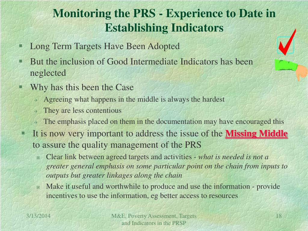 Monitoring the PRS - Experience to Date in Establishing Indicators