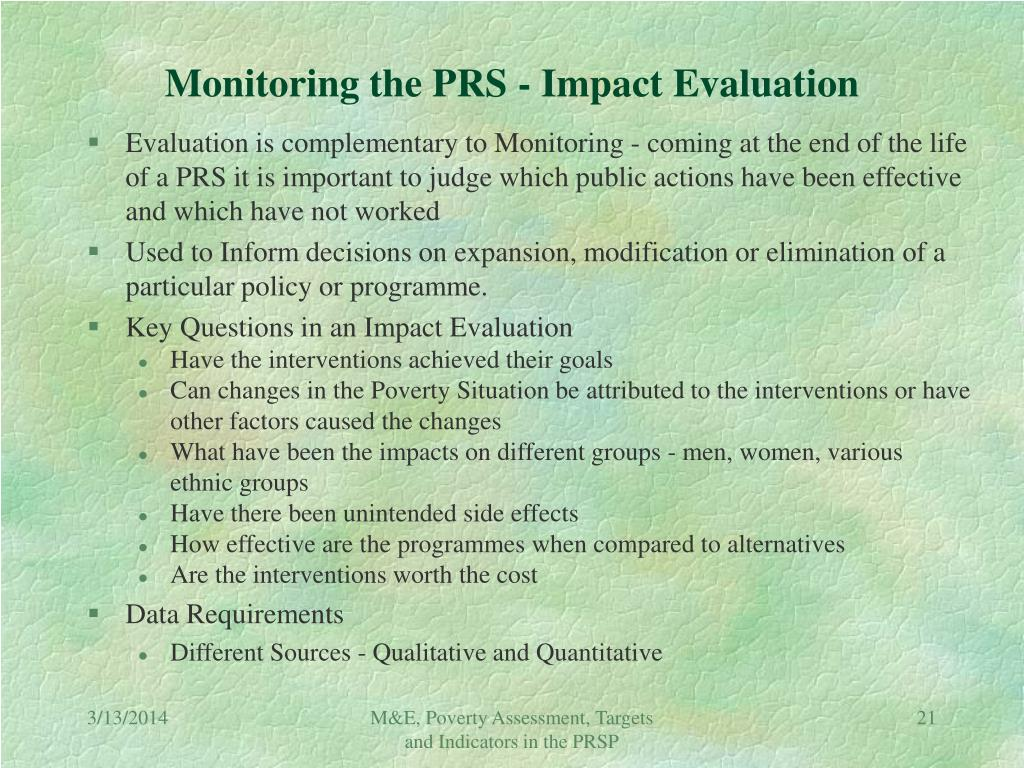 Monitoring the PRS - Impact Evaluation