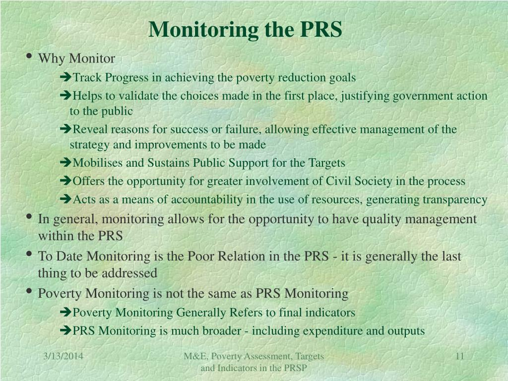 Monitoring the PRS