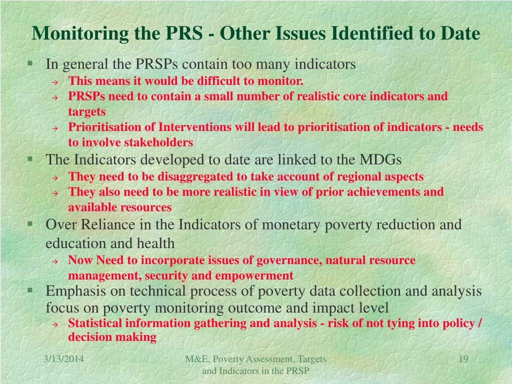 Monitoring the PRS - Other Issues Identified to Date