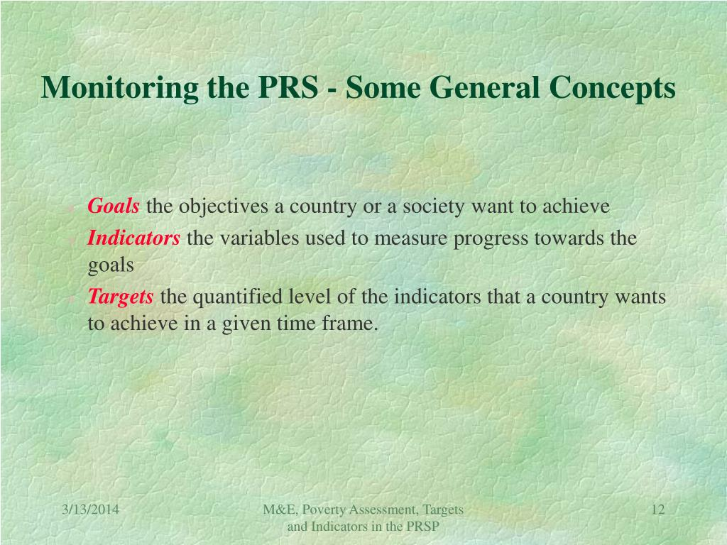 Monitoring the PRS - Some General Concepts