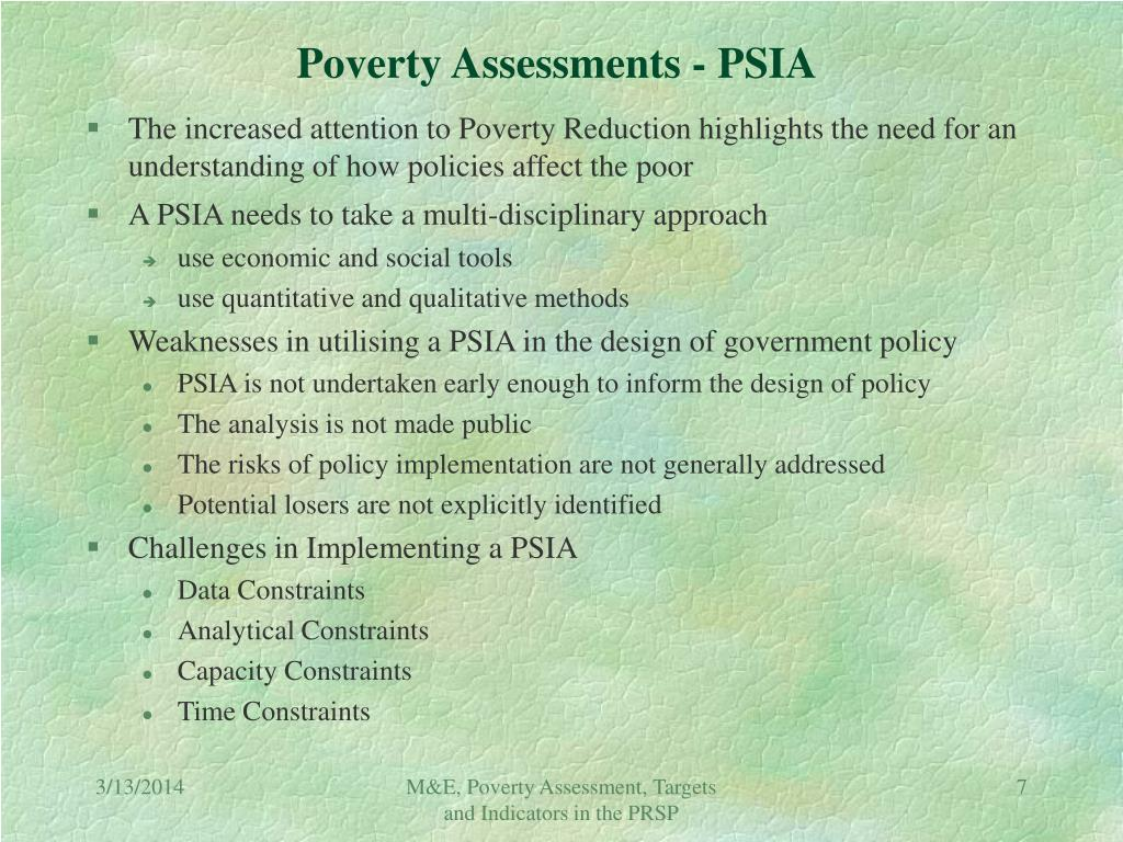 Poverty Assessments - PSIA
