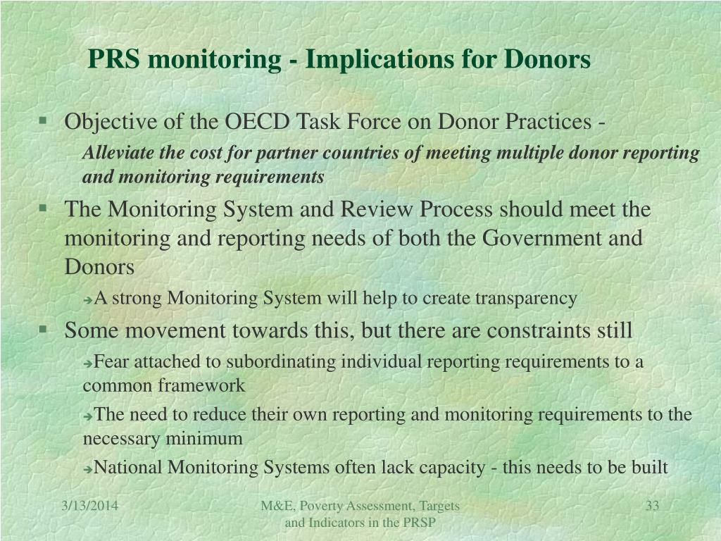 PRS monitoring - Implications for Donors