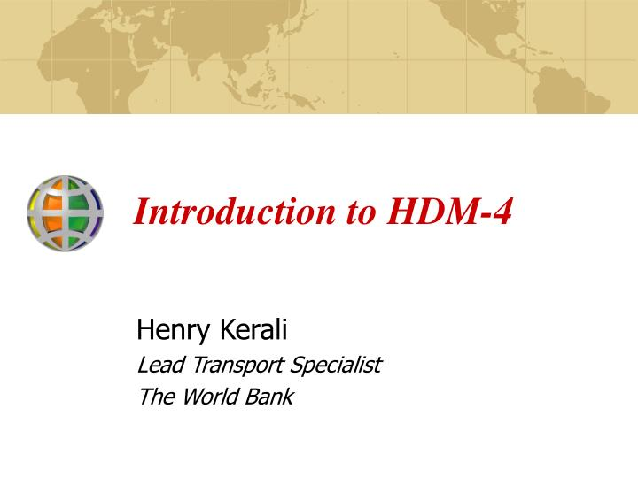 introduction to hdm 4 n.