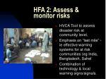 hfa 2 assess monitor risks