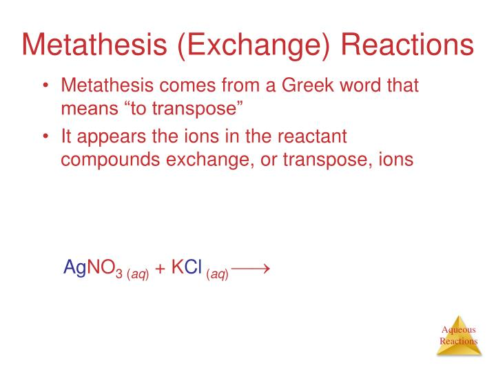 methathesis reactions The alkene metathesis reaction is a catalyzed reaction that can be summarized quite simply, as shown in equation (1), and when applied to simple linear alkenes the substituents r 1 and r 2 may be either linear or branched-chain alkyl groups.