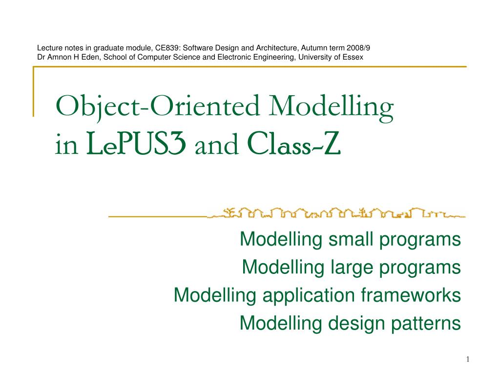 Ppt Object Oriented Modelling In Lepus3 And Class Z Powerpoint Presentation Id 442073